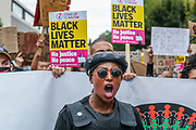 Prominent Black Lives Matter activist Sasha Johnson is in a critical condition after being shot, her political party says. Sasha Johnson is seen in pictures leading people on an anti-racist march towards Hyde Park nearby Notting Hill underground station in central London on Sunday, Aug 30, 2020. (Photo by Vudi Xhymshiti/VXP)