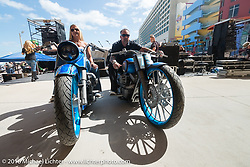 Chris Eder and Kelly Hedgepeth of Misfit Industries unveil their new Geico Bikes at the Boardwalk Bandshell during Daytona Bike Week 75th Anniversary event. FL, USA. Monday March 7, 2016.  Photography ©2016 Michael Lichter.