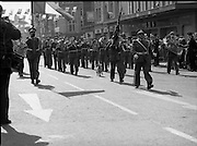 St Patrick's Day Parade.1982.17/03/1982.03.17.1982.17th March 1982..The army band leads the parade through the streets of Dublin. A dog decided to join in.