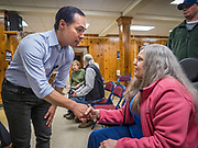 07 MAY 2019 - AMES, IOWA: JULIÁN CASTRO talks to individual Iowa Democrats during a campaign appearance at Collegiate United Methodist Church in Ames Tuesday. Castro is visiting Iowa to support his candidacy for the Democratic ticket of the US Presidency. Iowa traditionally hosts the the first selection event of the presidential election cycle. The Iowa Caucuses will be on Feb. 3, 2020.                           PHOTO BY JACK KURTZ