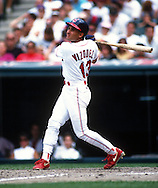 CHICAGO - UNDATED:  Omar Vizquel of the Cleveland Indians bats during an MLB game at Jacobs Field in Cleveland, Ohio.  Vizquel played for the Indians from 1994-2004.  (Photo by Ron Vesely)