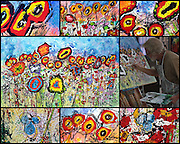 """The making of 'WILDflowers' . 30"""" x 48,"""" Acrylic on Ink on Canvas, 2017. See (Price and Availability)."""