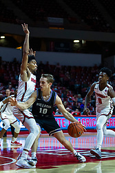 NORMAL, IL - October 23: Turner Scott arm bars his way around Rey Idowu during a college basketball game between the ISU Redbirds and the Truman State Bulldogs on October 23 2019 at Redbird Arena in Normal, IL. (Photo by Alan Look)
