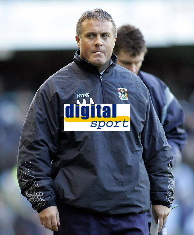 Photo: Paul Thomas. Digitalsport<br /> Coventry City v Burnley, Highfield Road, Coventry. Coca Cola Championship. 12/02/2005. Coventry manager Micky Adams has alot to think about.
