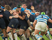 """Twickenham, United Kingdom.  Courtney LAWES, smuggling the ball through in the  in the Forwards """"Drive"""", during the Old Mutual Wealth Series Rest Match: England vs Argentina, at the RFU Stadium, Twickenham, England, <br /> <br /> Saturday  26/11/2016<br /> <br /> [Mandatory Credit; Peter Spurrier/Intersport-images]"""