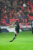 Rugby Union  - 2017 / 2018 European Champions Cup Pool 5. Llanelli Scarlets vs Bath<br /> <br /> Rhys Priestland of Bath,  kicks a penalty ,in heavy rain  at Parc Y Scarlets.<br /> <br /> COLORSPORT/WINSTON BYNORTH