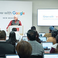 Gallup Mayor Jackie McKinney, at the podium, addresses  Google and guests in attendance for making the workshop a reality for the city. The workshop was held in the Octavia Fellin Public Library in Gallup on Friday.