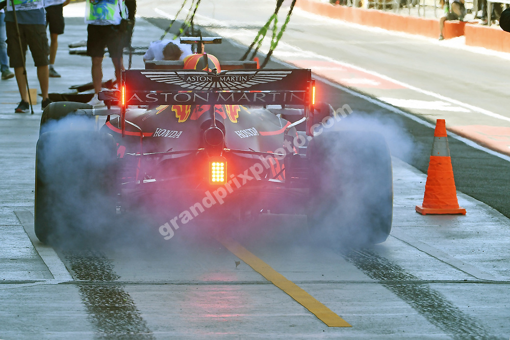 Max Verstappen (Red Bull-Honda) puts down the rubber with smoke from his rear wheels during practice for the 2019 Canadian Grand Prix in Montreal. Photo: Grand Prix Photo