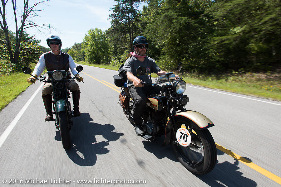 """Dean Bordigioni (Dino) riding his 1923 Harley-Davidson JS beside his good friend Robert Gustavsson or """"Big Swede"""" as he is fondly known, on his 1931 Harley-Davidson VL during Stage 5 of the Motorcycle Cannonball Cross-Country Endurance Run, which on this day ran from Clarksville, TN to Cape Girardeau, MO., USA. Tuesday, September 9, 2014.  Photography ©2014 Michael Lichter."""