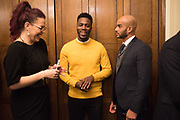 NATASHA DEVON; MO GILLIGAN;  LEON MCKENZIE; , Ann Coffey MP hosts a reception and panel debate  on behalf of Harry's Grooming to launch the Masculinity Report. Houses of Parliament. 16 November 2017.