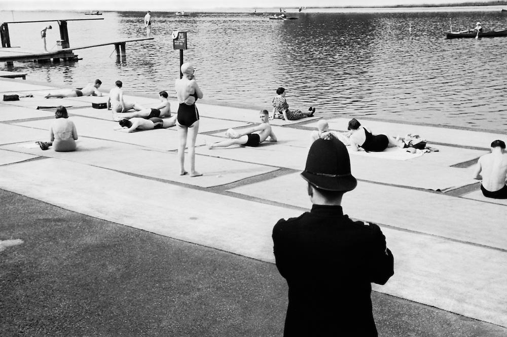 Policemen Overlooking Swimmers and Sunbathers, London, c1935