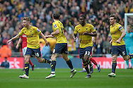 Oxford celebrate getting their second goal, to make it 3-2 during the Johnstone's Paint Trophy Final between Barnsley and Oxford United at Wembley Stadium, London, England on 3 April 2016. Photo by Mark P Doherty.