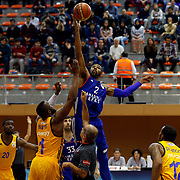 Anadolu Efes's Alex Tyus (R) during their Turkish Basketball Super League match Istanbul BBSK between Anadolu Efes at Cebeci Arena in Istanbul Turkey on Sunday 29 November 2015. Photo by Aykut AKICI/TURKPIX
