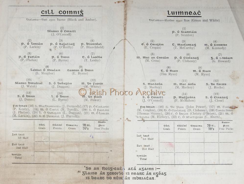 All Ireland Senior Hurling Championship Final,.01.09.1935, 09.01.1935, 1st September 1935, .1091935AISHCF,.Limerick 2-4, Kilkenny 2-5,.Minor Tipperary v Kilkenny, .Senior Limerick v Kilkenny,..Limerick Senior Team, P. Scanlan, Goalkeeper, E. Cregan, Right corner-back, T. McCarthy, Full-back, M. Kennedy, Left corner-back, M. Cross, Right half-back, P. Clohessy, Centre half-back, G. Howard, Left half-back,  T. Ryan, Captain, Midfielder, M. Ryan, Midfielder,  J. Mackey, Right half-forward, M. Mackey, Centre half-forward, J. Roche, Left half-back, J. O'Connell, Right corner-forward, P. McMahon, Centre forward, J. Close, Left corner-forward,  Substitutes, John Power, M. Condon, D. Clohessy, Thomas Shinny, Christy O'Brien, M. Hickey, C. Ahern..Kilkenny Senior Team, J. O'Connell, Goalkeeper, P. Larkin, Right corner-back, P. O'Reilly, Full-back, P. Blanchfield, Left corner-back, E. Byrne, Midfielder, P. Byrne, Centre half-back, P. Phelan, Right half-back, L. Meagher, Captain, Midfielder, Tommy Leahy, Left half-back, J. Walsh, Right half-forward, J. Duggan, Centre half-forward, M. White, Left half-forward, J. Dunne, Right corner-forward, L. Byrne, Centre forward, Matty Power, Left corner-forward, Substitutes, J. Dermody, P. Kealy, M. Tyrell, J. Phelan, L. Duggan, M. Larkin, J. Purcell, Substitutions, L. Duggan for J. Dunne, J. Dunne for Duggan, .hurling sliotars,<br /> <br /> hurling teams Ireland,<br /> <br /> hurling tickets final,<br /> <br /> intermediate hurling championship,<br /> <br /> ireland hurling schedule,<br /> <br /> irish hurling championship,<br /> <br /> irish hurling final,<br /> <br /> <br /> irish hurling teams,<br /> <br /> irish sports hurling,