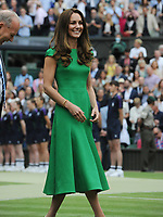 Lawn Tennis - 2021 All England Championships - Woman's Final - Wimbledon<br /> Ashleigh Barty v Karolina Pliskova<br /> <br /> HRH The Duchess of Cambridge (Cate) talks to the ball boys and girls after the match<br /> <br /> <br /> Credit : COLORSPORT/Andrew Cowie