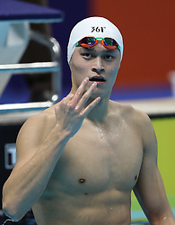 August 24, 2018 - Jakarta, Indonesia - Sun Yang of China gestures after men's 1500m freestyle final of swimming at the 18th Asian Games in Jakarta, Indonesia, Aug. 24, 2018. Sun won the gold medal. (Credit Image: © Fei Maohua/Xinhua via ZUMA Wire)