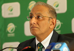 CSA Chief Executive Haroon Lorgat during the press conference held by Cricket South Africa to announce the outcome of an Anti Corruption investigation.  It was announced that Jean Symes, formerly of the Lions was banned for 7 years, Pumelela Matshikwe, formerly of the Lions was banned for 10 years, Ethy Mbhalati, formerly of the Titans was banned for 10 years and Thami Tsolekile, a former Proteas's wicket keeper, contracted to and captain of the Lions was banned for 12 years.  The press conference was held at PPC Newlands Cricket Stadium in Cape Town, South Africa on the 8th August 2016<br /> <br /> Photo by:   Ron Gaunt / Real Time Images
