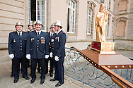 Dancing Procession of Echternach, Luxembourg, Whit Tuesday. Firemen prepare to carry a statue of St Willibrord. The dancing procession in Echternach was inscribed on the UNESCO list of Intangible Cultural Heritage in 2010. © Rudolf Abraham