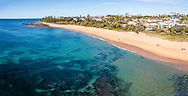 Panoramic aerial view of beautiful Shelly Beach without many people, Caloundra, Sunshine Coast, Queensland, Australia