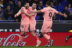 December 8, 2018 - Barcelona, Catalonia, Spain - December 8, 2018 - Cornella- El Prat, Barcelona, Spain - LaLiga Santander- RCD Espanyol v FC Barcelona; Lionel Messi, Jordi Alba and Luis Suarez of FC Barcelona celebrates scoring his side's 2nd goal. (Credit Image: © Marc Dominguez/ZUMA Wire)