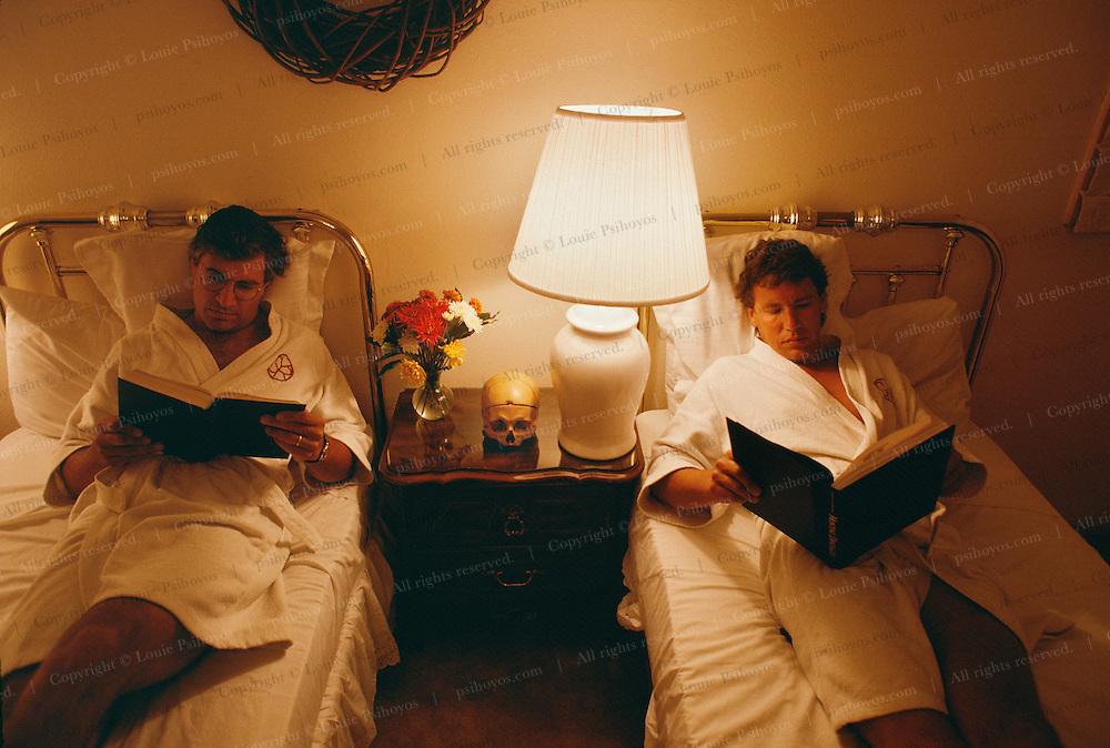 Louie Psihoyos (Left), Edward Drinker Cope on night table and John Knoebber (Right) at the San Ysidro Resort in Santa Barbara.