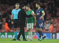 Football - 2020 / 2021 Europa League - Group B - Arsenal vs Rapid Vienna - The Emirates Stadium<br /> <br /> Arsenal Manager, Mikel Arteta congratulates Pablo Mari after the match<br /> <br /> COLORSPORT/ANDREW COWIE