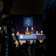 Press conference and panel discussion at the release of the 9/11 Commission (National Commission on Terrorist Attacks Upon the United States) Final Report at the Mellon Auditorium in Washington DC on July 22, 2004. The event featured comments by the 9/11 Commission panel members and questions from the audience and reporters.