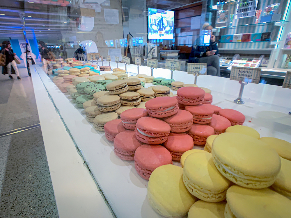 United States, Washington, Seattle, macaroons for sale in airport terminal