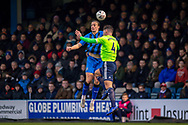 Gillingham FC forward Tom Eaves (9) and Cardiff City defender Sean Morrison (4) during the The FA Cup 3rd round match between Gillingham and Cardiff City at the MEMS Priestfield Stadium, Gillingham, England on 5 January 2019. Photo by Martin Cole.