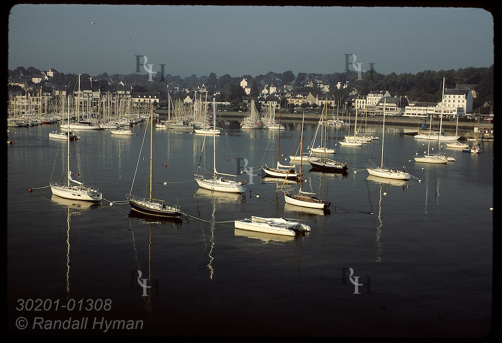 Boats docked at La Trinite Sur Mer;TBT in boat paints-now banned- once killed many shellfish here. France