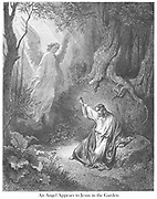 An Angel Appears to Jesus in the garden (or The Agony in the Garden) [Luke 22:43-44] From the book 'Bible Gallery' Illustrated by Gustave Dore with Memoir of Dore and Descriptive Letter-press by Talbot W. Chambers D.D. Published by Cassell & Company Limited in London and simultaneously by Mame in Tours, France in 1866