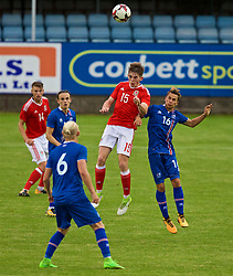 RHYL, WALES - Monday, September 4, 2017: Wales' Rhys Norrington-Davies and Iceland's Jónatan Ingi Jónsson during an Under-19 international friendly match between Wales and Iceland at Belle Vue. (Pic by Paul Greenwood/Propaganda)
