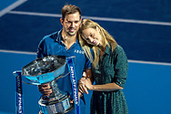 Mike Bryan of the USA holding the trophy with girlfriend Nadia Murgasova after winning the doubles final during the Nitto ATP Tour Finals at the O2 Arena, London, United Kingdom on 18 November 2018. Photo by Martin Cole