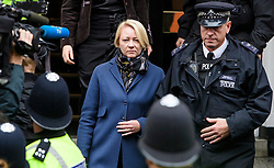 © Licensed to London News Pictures. 14/11/2016. London, UK. Swedish officials, including INGRID ISGREN (blonde hair) leave the Ecuadorian Embassy in London during a lunch break in questioning of WikiLeaks editor-in-chief, Julian Assange. Assange, who has been living at the embassy for over four years, is wanted for questioning over accusations of rape in Stockholm in 2010.  Photo credit: Ben Cawthra/LNP