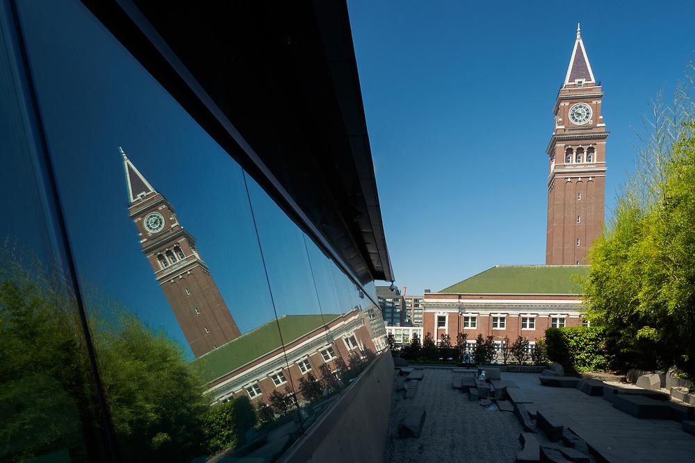 United States, Washington, Seattle, King Street Station and reflection