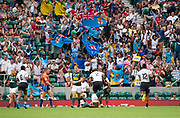 Twickenham, United Kingdom. 3rd June 2018, HSBC London Sevens Series. Game 45. Cup Final.  Fiji vs South Africa. <br /> <br /> The Fijian supporters, cheering, standing and waving, their flags-during the Rugby 7's, match played at the  RFU Stadium, Twickenham, England, <br /> <br /> <br /> <br /> © Peter SPURRIER/Alamy Live News