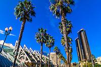 Harbor Drive (San Diego Convention Center on left), San Diego, California USA.