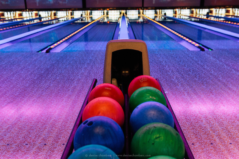The balls are stacked and ready at 10 Pin Bowling Lounge in Chicago, Illinois