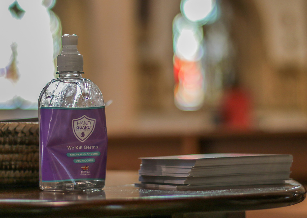 28th February, Cheltenham, England. Hand sanitiser is laid you ready for the congregation at St Gregory's Catholic Church in Cheltenham.
