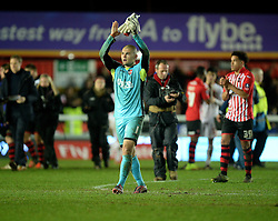 Robert Olejnik of Exeter City claps the home support.  - Mandatory byline: Alex James/JMP - 08/01/2016 - FOOTBALL - St James Park - Exeter, England - Exeter City v Liverpool - FA Cup Third Round