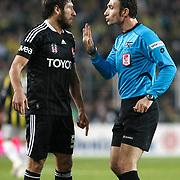 Referee's Ozgur Yankaya (R) during their Turkish superleague soccer derby match Fenerbahce between Besiktas at Sukru Saracaoglu stadium in Istanbul Turkey on Sunday 05 February 2012. Photo by TURKPIX