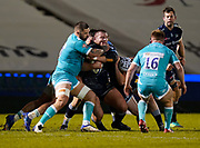 Warriors Cornell du Preezgets a grip of Sale Sharks Valeri Morozov during the Gallagher Premiership match Sale Sharks -V- Worcester Warriors at The AJ Bell Stadium, Greater Manchester,England United Kingdom, Friday, January 08, 2021. (Steve Flynn/Image of Sport)
