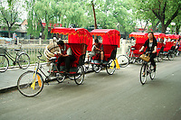 Rickshaws were first used in China during the late 1800s and an important element in urban development in 20th century China in terms of  transport and for the employment it provided.  At one time rickshaw men and their dependents made up almost 20 percent of Beijing's population. Many rickshaws disappeared after the founding of the People's Republic of China in 1949 though in recent years they have made a comeback in popular tourist areas of Beijing.