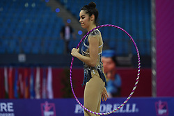 April 13, 2018 - Pesaro, Italy - Rhythmic gymnast AGIURGIUCULESE Alexandra of Italy performs her hoop routine during the FIG 2018 Rhythmic Gymnastics World Cup at Adriatic Arena on 13 April 2018 in Pesaro Italy. (Credit Image: © Franco Romano/NurPhoto via ZUMA Press)