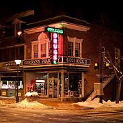 A night shot of historic Goolrick's pharmacy in Fredericksburg, VA.