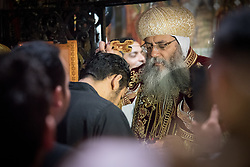 14 April 2019, Jerusalem: Palm Sunday service at the Church of the Holy Sepulchre, in the Old City of Jerusalem. Here, His Grace Bishop Alanba Antonios, Coptic Orthodox Archbishop of Jerusalem and the Near East.