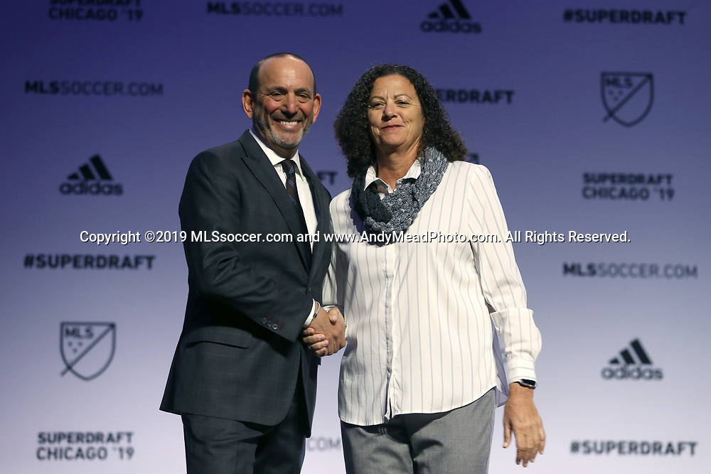 CHICAGO, IL - JANUARY 11: MLS Commissioner Don Garber (left) with United Soccer Coaches president Lesle Gallimore. The MLS SuperDraft 2019 presented by adidas was held on January 11, 2019 at McCormick Place in Chicago, IL.