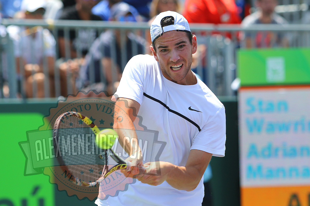 Adrian Mannarino of France is seen during his match against Stan Wawrinka of Switzerland at the Miami Open tennis tournament on Sunday, March 29, 2015 in Key Biscayne, Florida. (AP Photo/Alex Menendez)
