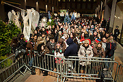 Crowds at Rockfeller Center anticipating the lighting of the tree.