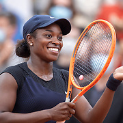 PARIS, FRANCE June 5.  Sloane Stephens of the United States celebrates her victory against Karolina Muchova of the Czech Republic on CourtSimonne Mathieu during the third round of the singles competition at the 2021 French Open Tennis Tournament at Roland Garros on June 5th 2021 in Paris, France. (Photo by Tim Clayton/Corbis via Getty Images)